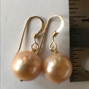 10.5mm Peach Pearls 14K Gold Fill Earwires